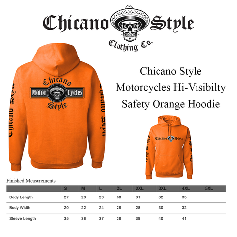 Chicano_Style_Motorcycles_Hi-Visibilty_Safety_Orange_Hoodie_Sweatshirt_Size Chart