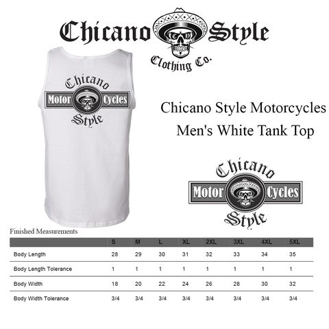 Chicano Style Clothing Size Chart - Chicano Style Motorcycles Men's White Tank Top