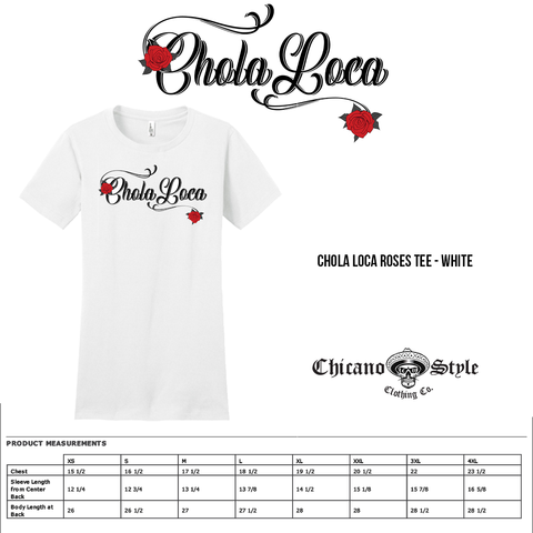 Size Chart Chola Loca Roses Tee - White