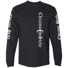 Load image into Gallery viewer, Chicano Style Classic II Black Long Sleeve T-Shirt Front