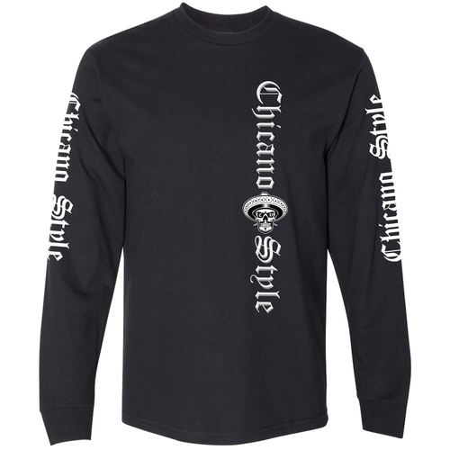 Chicano Style Classic II Black Long Sleeve T-Shirt Front