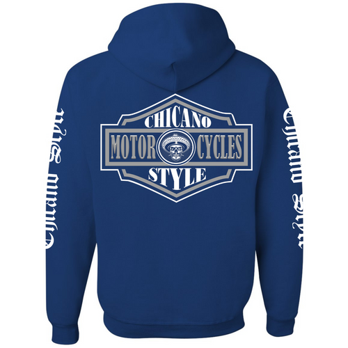 Chicano Style Motorcycles Badge BLUE Hoodie Pullover Sweatshirt