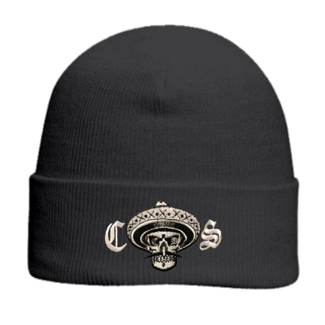 Chicano Style Embroidered Cuffed Beanie - Black