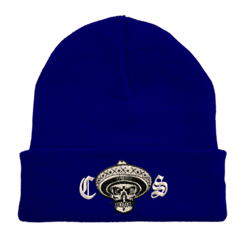 Chicano Style Embroidered Cuffed Beanie - Blue