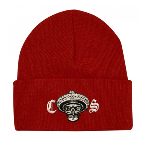 Chicano Style Embroidered Cuffed Beanie - Red