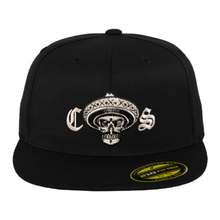 Load image into Gallery viewer, Chicano Style Embroidered Flat Bill Flexfit Cap - Black Front