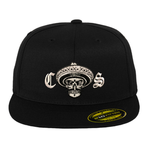 Chicano Style Embroidered Flat Bill Flexfit Cap - Black Front