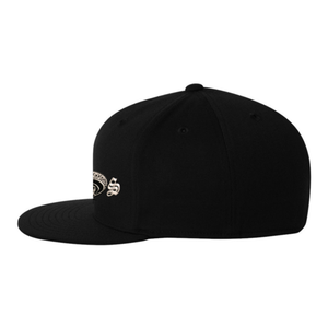 Chicano Style Embroidered Flat Bill Flexfit Cap - Black Side