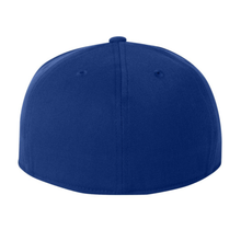 Load image into Gallery viewer, Chicano Style Embroidered Flat Bill Flexfit Cap - Blue Back