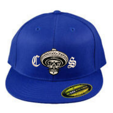 Load image into Gallery viewer, Chicano Style Embroidered Flat Bill Flexfit Cap - Blue Front