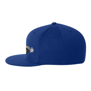 Chicano Style Embroidered Flat Bill Flexfit Cap - Blue Side