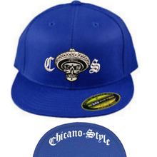 Load image into Gallery viewer, Chicano Style Embroidered Flat Bill Flexfit Cap - Blue Front and Underbill