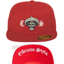 Load image into Gallery viewer, Chicano Style Embroidered Flat Bill Flexfit Cap - Red Front and Underbill