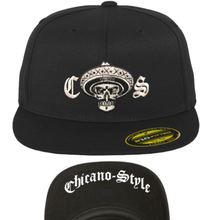 Load image into Gallery viewer, Chicano Style Embroidered Flat Bill Flexfit Cap - Black Front and Underbill