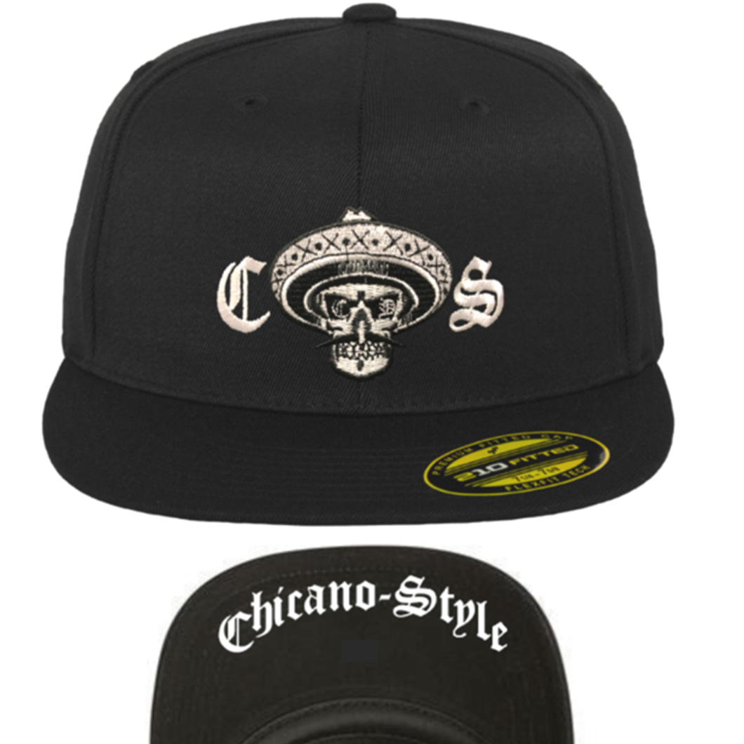 Chicano Style Embroidered Flat Bill Flexfit Cap - Black Front and Underbill
