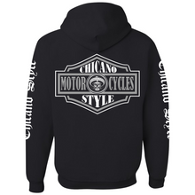 Load image into Gallery viewer, Chicano Style Motorcycles Badge Black Hoodie Sweatshirt