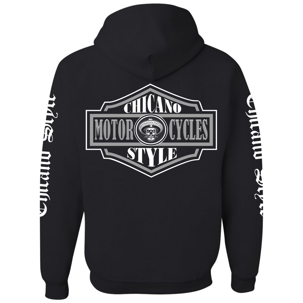 Chicano Style Motorcycles Badge Black Hoodie Sweatshirt