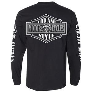 Chicano Style Motorcycles Badge Black Long Sleeve T-Shirt