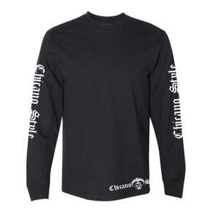 Chicano Style Motorcycles Black Long Sleeve T-Shirt Front