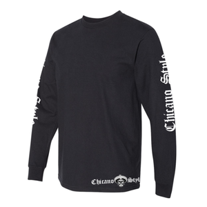 Chicano Style Motorcycles Badge Black Long Sleeve T-Shirt Left Sleeve