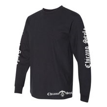 Load image into Gallery viewer, Chicano Style Motorcycles Black Long Sleeve T-Shirt Left Sleeve