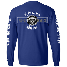 Load image into Gallery viewer, Chicano Style Motorcycles Blue Long Sleeve T-Shirt