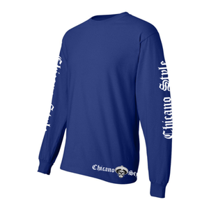 Chicano Style Motorcycles Blue Long Sleeve T-Shirt Long Sleeve