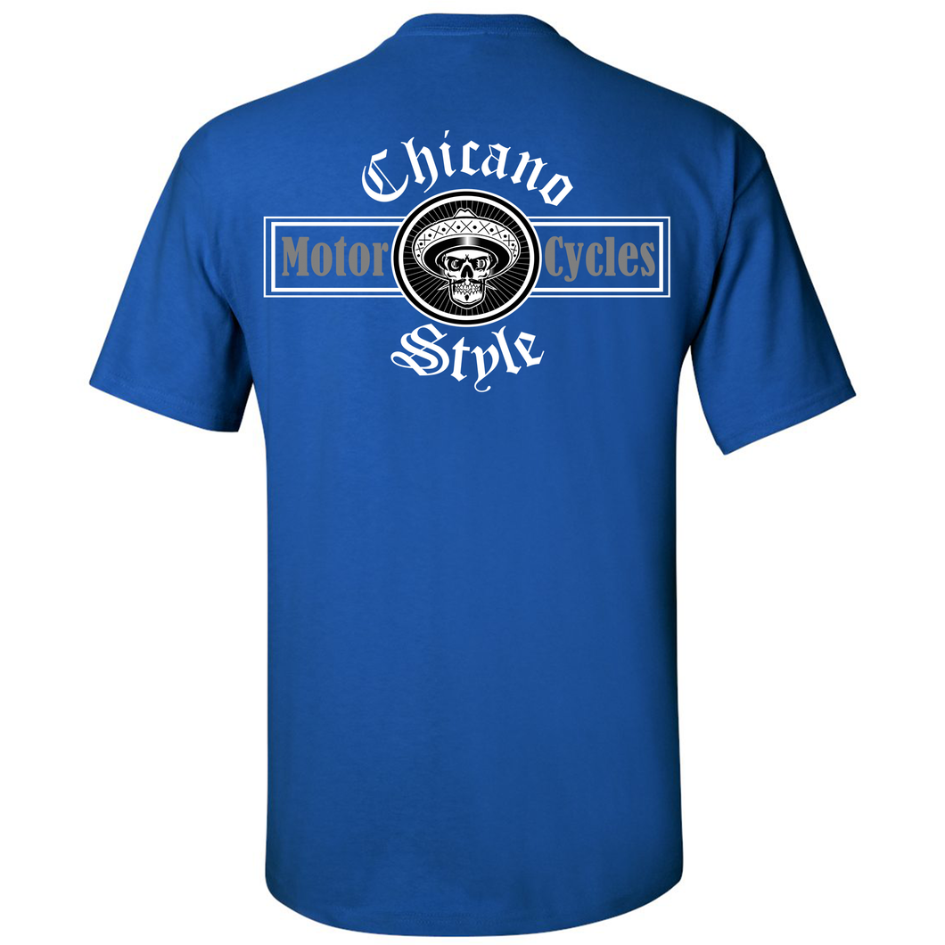 Chicano Style Motorcycles Blue T-Shirt