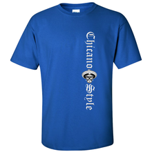 Load image into Gallery viewer, Chicano Style Motorcycles Blue T-Shirt Front