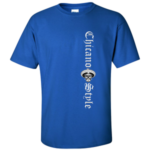 Chicano Style Motorcycles Blue T-Shirt Front