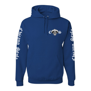 Chicano Style Motorcycles Blue Hoodie Sweatshirt Front