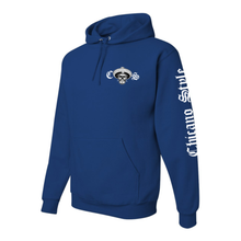 Load image into Gallery viewer, Chicano Style Motorcycles Blue Hoodie Sweatshirt Left Sleeve