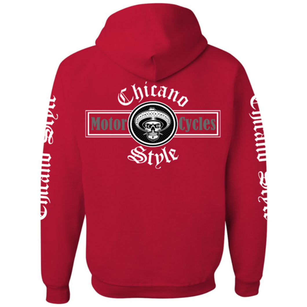 Chicano Style Motorcycles Red Hoodie Sweatshirt
