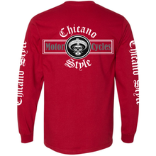 Load image into Gallery viewer, Chicano Style Motorcycles Red Long Sleeve T-Shirt