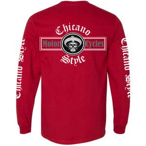 Chicano Style Motorcycles Red Long Sleeve T-Shirt