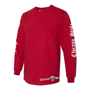 Chicano Style Motorcycles Red Long Sleeve T-Shirt Left Sleeve