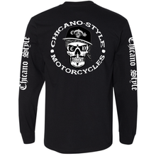 Load image into Gallery viewer, Chicano Style Motorcycles Skull Cap Logo - Long Sleeve T-Shirt