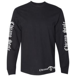 Chicano Style Motorcycles Skull Cap Logo - Long Sleeve T-Shirt Front