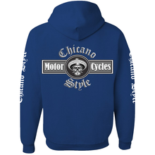 Load image into Gallery viewer, NEW Chicano Style Motorcycles Blue Pullover Hoodie Sweatshirt Back
