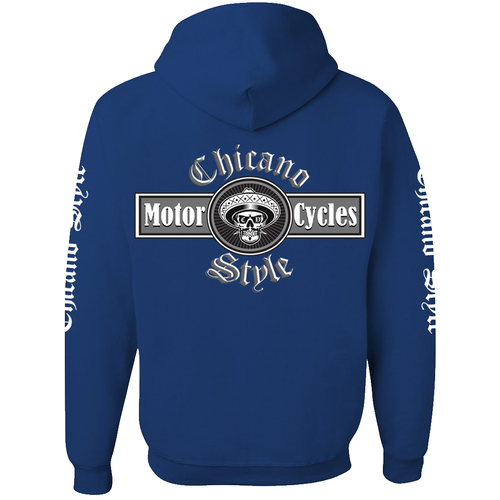 NEW Chicano Style Motorcycles Blue Pullover Hoodie Sweatshirt Back