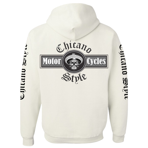 NEW Chicano Style Motorcycles White Pullover Hoodie Sweatshirt