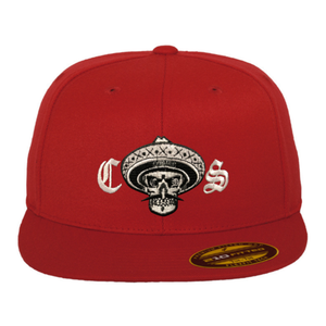Chicano Style Embroidered Flat Bill Flexfit Cap - Red Front