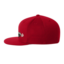 Load image into Gallery viewer, Chicano Style Embroidered Flat Bill Flexfit Cap - Red Side