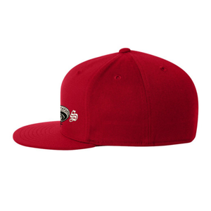 Chicano Style Embroidered Flat Bill Flexfit Cap - Red Side