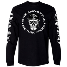 Load image into Gallery viewer, Chicano Style Skull Cap Long Sleeve Tee Front