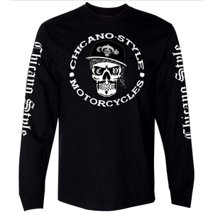 Chicano Style Skull Cap Long Sleeve Tee Front