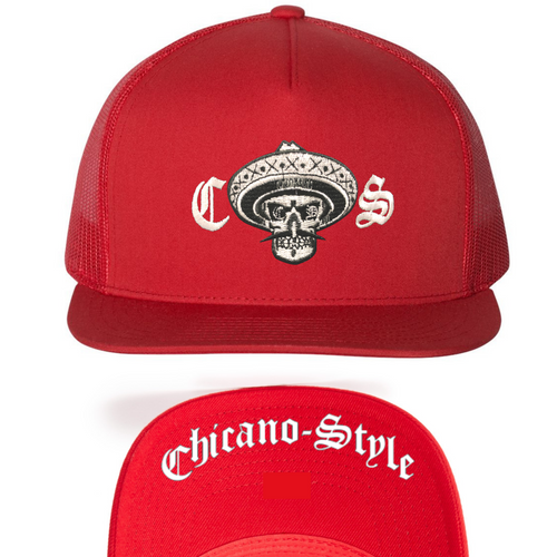 Chicano Style Classic Red Flat Bill Snapback Cap
