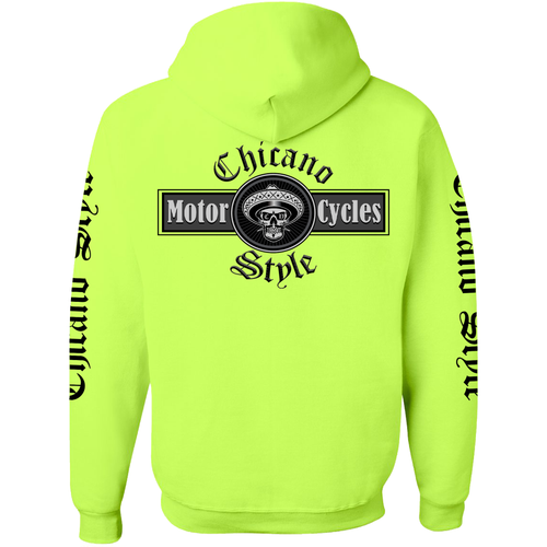 Chicano Style Motorcycles Hi-Visibility Safety Green Hoodie Sweatshirt