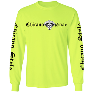Chicano Style Motorcycles - Hi-Visibility Safety Green Long Sleeve T-Shirt front