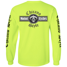 Load image into Gallery viewer, Chicano Style Motorcycles - Hi-Visibility Safety Green Long Sleeve T-Shirt